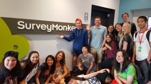 CIT Xavi Boluna (center, in grey T-shirt) takes part in a field trip to SurveyMonkey in Palo Alto during NBTB 2015. Photo by Jordan Tichenor.