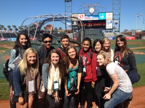 NBTB students enjoy a rare pre-game tour of the ball field at AT&T Park in San Francisco prior to the SF Giants vs. Cincinnati Reds game on Friday, June 29. The San Francisco Giants provided access to the press box and the pre-game chalk talk in the Giants dugout.