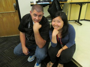 Johnson and NBTB Counselor-in-Training Patricia Jin share a light moment after Johnson's talk.