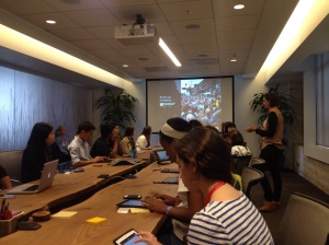 Year 2 students learn about handles, hashtags, widgets and Tweetdeck at Twitter headquarters in downtown San Francisco. Photo by NBTB staff.