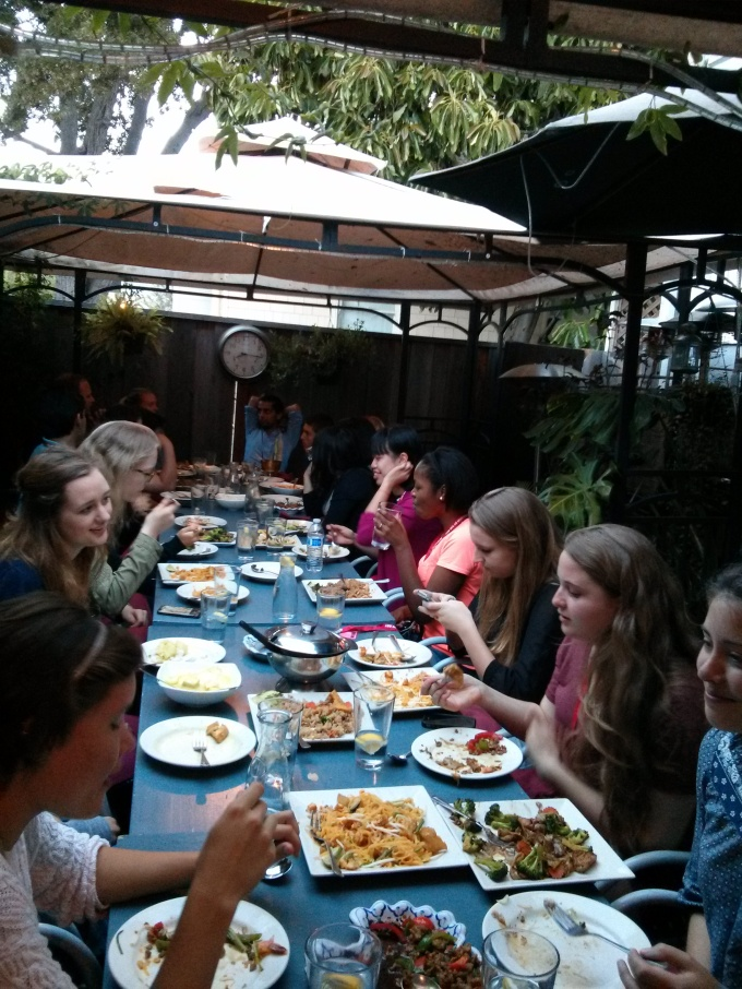 Saturday arrivals enjoy a delicious Thai dinner in downtown Palo Alto with team leaders and program directors, just as we did last summer. Photo by NBTB.