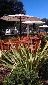 Outdoor dining at Arrillaga Family Dining Commons, near Okada House on the Stanford University campus.