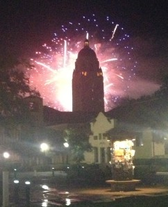 Fireworks explode over Stanford Stadium and Hoover Tower after a San Jose Earthquakes game during NBTB 2013 last June.