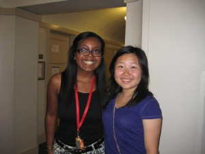 Left to right: Nebeyatt Betre and Patricia Jia met each other at NBTB 2013 last summer. Both are heading to college this fall.