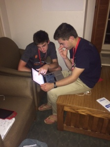 Kole Hunter (left) and Simon Greenhill (right) discuss their Team Dispatch website.