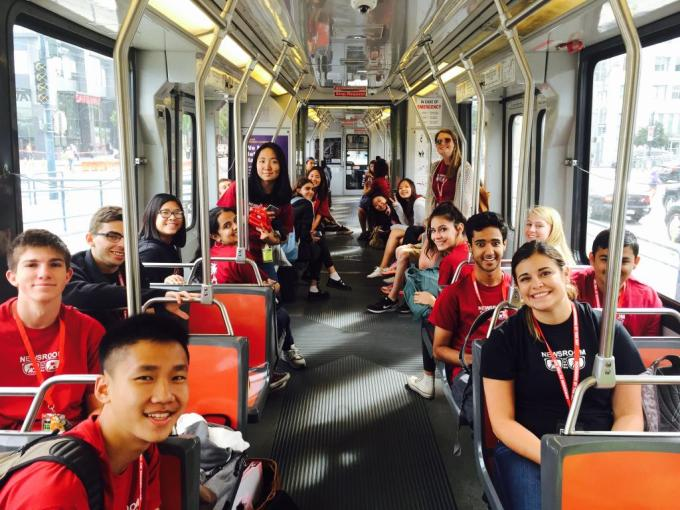 NBTB 2015 students on Stanford's Marguerite shuttle to the CalTrain station in Palo Alto.