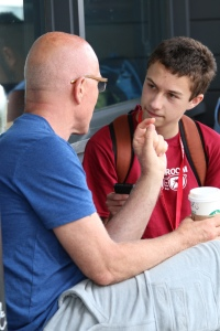 NBTB 2015 student Calder Stenn, at right, interviews an unidentified man during the Year 1 San Francisco field trip on Thursday, July 2.