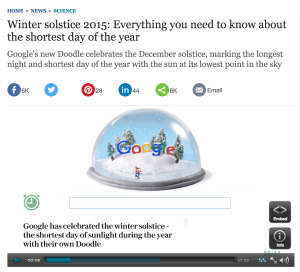 The Telegraph reports on this year's winter solstice — the day when the earth's north pole is tilted the furthest away from the sun — and Google's new doodle, viewable in several countries, in Europe, Canada, Mexico, Colombia and Japan.