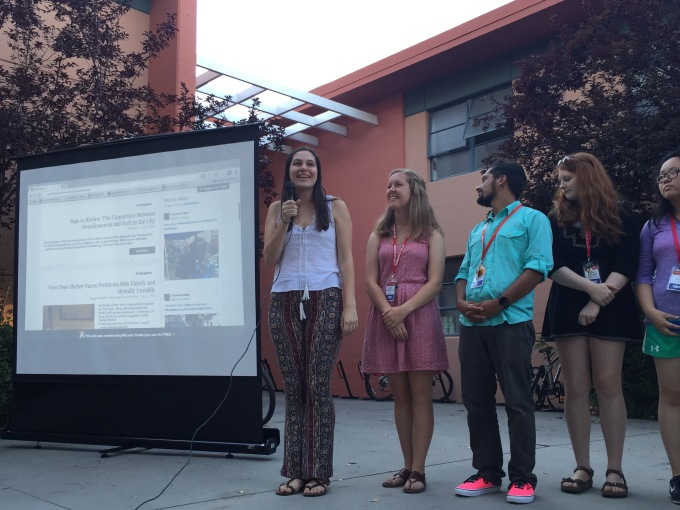 "(Left to right) Pop-up project leader Casey Miller, along with team leaders Taylor Blatchford and Jordan Tichenor, and CITs Maggie McAden and Lisa Shen, present ""Worlds Apart"" during the closing multimedia showcase at NBTB 2016."